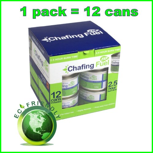 Environmentally Friendly ethanol based Chafing Fuel Gel in 2.5 hrs cans for Chafing Sets and Chafing Dishes. Odour Free and Non Toxic (12)