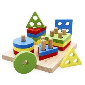 Lewo Juguetes educativos para niños de Madera Formas geométricas Tablero para apilar y clasificar