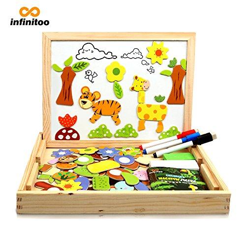 infinitoo Puzzle Magnetico Legno Lavagna Magnetica Bambini Puzzle Numeri 100 Pezzi Animali...