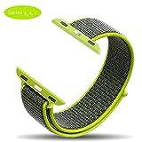 F-FISH New Nylon Sport Loop con chiusura a velcro Chiusura regolabile Polsino Replacment Band per iwatch Apple Watch Serie 1/2 / 3,38 / 42mm (38MM, Bordo verde)