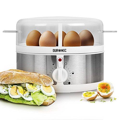 Duronic EB35 Cuiseur à œufs – de 1 à 7 œufs – Thermostat et minuteur pour obtenir œufs durs / mollets / à la coque avec fonction dédiée pour préparer deux types de cuisson