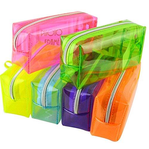 Astuccio trasparente in PVC, per penne, matite, cosmetici, cancelleria e monete, adatto per la...