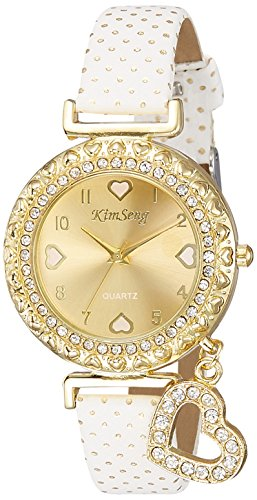 Habors Analogue White Leather & Non-Precious Metal Beige Dial Watch for Women and Girls - JFBD357WH