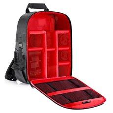 Neewer Mochila de cámara acolchada a prueba de choques insertar protección flexible para cámaras réflex digital SLR y lentes, linterna, disparadores Radio y otros accesorios (Interior rojo)