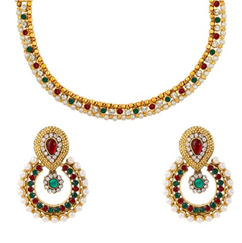 Dancing Girl Bridal Wedding Maroon Green Metal Alloy Jewellery Set with Necklace and Earring for Women