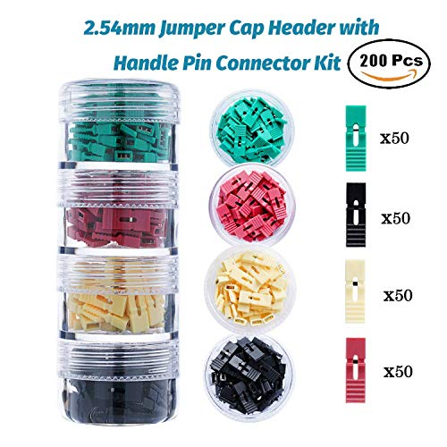 200 Pieces Standard Computer Jumper Caps with Handle Pin Shunt Short Circuit 2-Pin Connector...