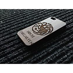 Estilo de juego de tronos Casa Targaryen de madera natural de nogal iPhone 5/5S funda