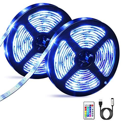 Striscia LED, OMERIL 2 Strisce LED RGB 5050 con Telecomando RF, 16 Colori e 4 Modalità, Impermeabile USB alimentata LED Striscia TV per Decorazioni, Cucina, Festa, Natale, Bar, Car - 6M (2x3m)