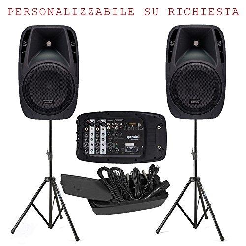 Impianto Audio per karaoke, animazione, presentazione, ecc, ES 210 MX BLU KIT- 2 diffusori da 600w, stativi, Mixer con lettore multimediale, 1 microfono