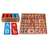 F Fityle 2 Set Montessori Moveable Alphabets Box for Kids Baby Letter Words Learning