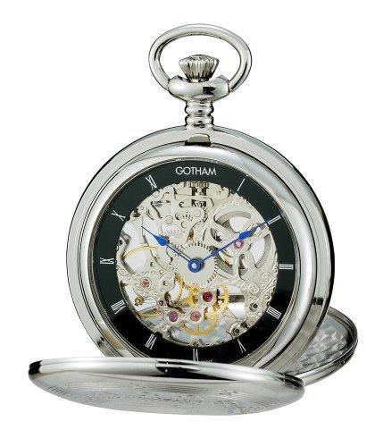 Gotham uomo silver-tone meccanica orologio da tasca con supporto da tavolo # gwc18800sb-st