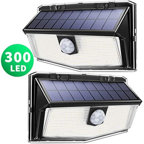 300 LED Luci Solari Esterno,【Nuovo design nel 2019】Luce Solare con Sensore di Movimento,...