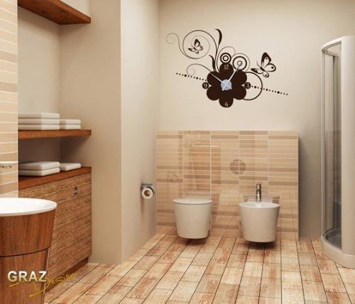 Vinilo de pared: Decoración de pared con reloj mariposa Para el salón los dormitorios (reloj=Dorado//Color=090 Plateado)