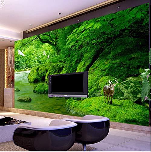 Murale Personalizzato Foto Wallpaper Green Forest Landscape Natural Living Room Divano Sfondo Carta...