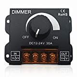 Dimmer 12V 24V 30A Controlador de regulador de un Solo Color LED para lámpara Cinta de luz Tira de LED Control de iluminación Brillo Negro