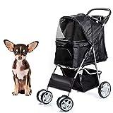 Dawoo Pet Dog Cat Animal Stroller passeggino Pram Jogger Buggy con 4 Wheels _black_
