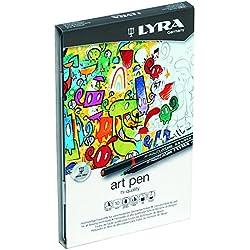 Lyra Hi-Quality Art Pen - Estuche metálico 10 rotuladores artísticos acuarelables de colores, efectos de luz y metálicos