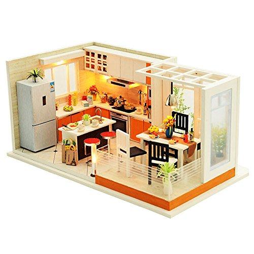 JVSISM Cucine Moderne Fatte a Mano Mobili casa delle Bambole in Miniatura  DIY Casa delle Bambole in Miniatura Casa delle Bambole Giocattoli di Legno  ...