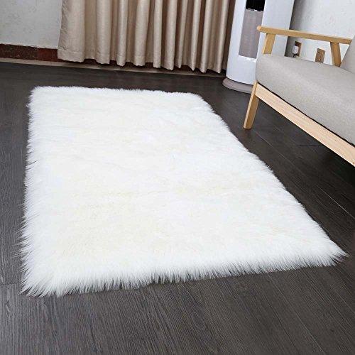 Cumay Faux tappetto di pelle di pecora tappeto , 60x90 cm, imitazione lana, adatto per tappeto per...