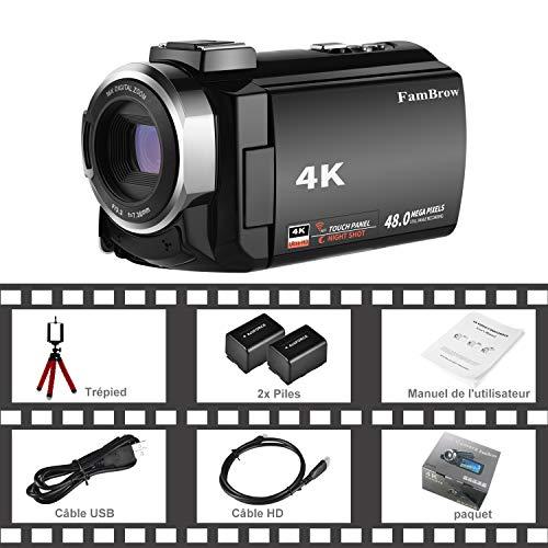 Caméscope 4K,FamBrow Caméra Vidéo WiFi 48MP IR Vision de Nuit 16 x Digital Zoom,Camescope Numerique 270 Degrés Rotatif Écran Tactile Camera ... 28