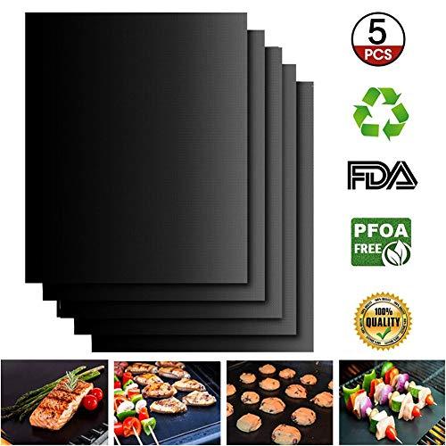 EXTSUD Set di 5 Tappetini da BBQ Griglia Resistente al Calore Antiaderente Riutilizzabili, Tappeto...