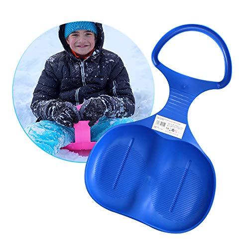 Eaxus® Kinder Schlitten Schneeflitzer/Schneerutzscher ❄️ mit Handgriff. Rutschteller zum Rodeln, Blau