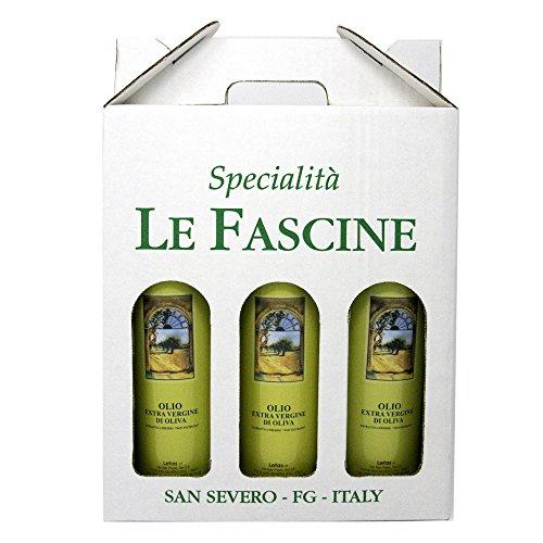 Le Fascine Olio Extravergine Di Oliva 100 % Italiano Confezione 3 Bottiglie Da 750 Ml (2,250 Litri) Prodotto Da Olive Mono Cultivar Provenzale ( Peranzana )
