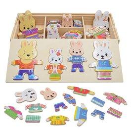 Vesti la Famiglia Orsi Conigli Puzzle Legno Bambini Educativi Giocattolo Giochi Creativi Dress up To