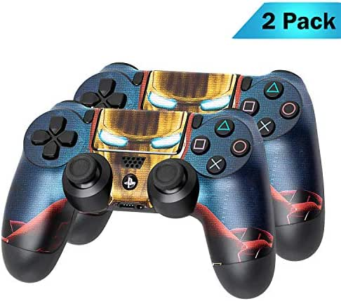 PS4 DualShock Wireless Controller Pro Konsole PlayStation4 Controller mit weichem Griff und exklusiver individueller Version Skin (PS4-Ironman) Mehrfarbig 2 - Pack