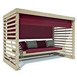 Luxus Massivholz Hollywoodschaukel mit überdachung 4 Sitzer + Polster thumbnail