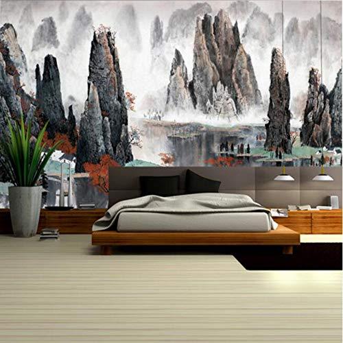 BIZHIGE Murale Wall Art Inchiostro Cinese Paesaggio Mood Montagne Nebbiose Murales Personalizzati...