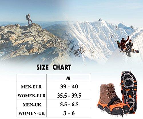 19 Dientes de Acero Inoxidable de Crampones Antideslizante Raquetas de Nieve,al Aire Libre de Esqui de Senderismo en Tipos Variedad de Terreno - by EnergeticSkyTM 4