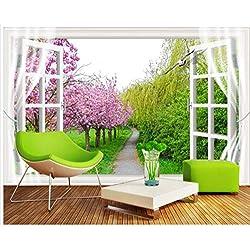 Fenêtre Fond Cherry Blossom Trail 3D Papier Peint Photo Décor À La Maison Fresque 3D Salon Chambre Tv Tissu En Soie (W)400x(H)280cm
