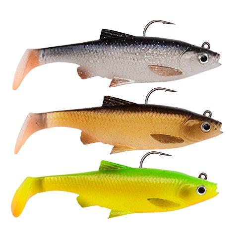 Savage Gear - 3 esche in gomma a forma di pesce roach, dettagli 3D, per pesca a spinning, swimbait per lucci, pesce persico e lucioperca, 12.5cm - 35g