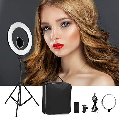 CRAPHY Ring Light, Luce Anello LED 18' 48W Led Ring Flash Regolabile Bicolore Luminoso 3200-5500k,...