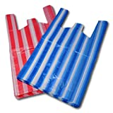 100 Medium Candy Stripe Plastic Vest Carrier Bags (BUY ONE GET ONE FREE - 200 BAGS FOR THE PRICE OF 100)