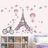 LianLe 45*60cm Wall Sticker Adesivo da parete Torre Eiffel Farfalla rosa Rimovibile Murale per Soggiorno Stanza dei bambini Camera da letto