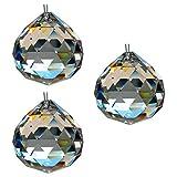 HAB & GUT -G701-40- Bola de cristal, juego de 3 piezas, talla triangular, Cristal de plomo, diámetro: 40 mm