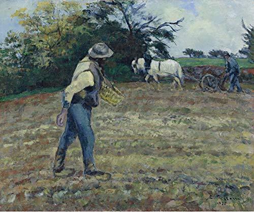 Camille Pissarro Giclee Papel de Arte impresión Obras de Arte Pinturas Reproducción de Carteles(El sembrador y el arador Montfoucault) #XZZ