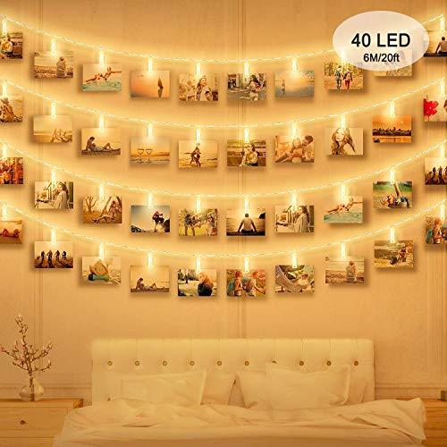 Luci Clip Foto, massway 6M 40 LED Striscia Foto Clip Luce Bianca Calda Luci LED con Foto Mollette...