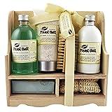 Coffret cadeau pour femme -Casier de bain en bois - Collection Fresh Bath - Aloe vera/Menthe poivrée