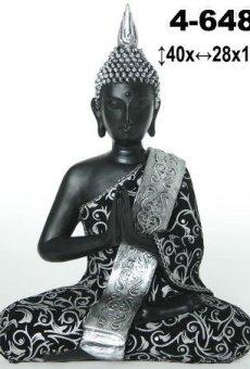 DonRegaloWeb – Figura de resina de buda en color negro con traje negro y plata