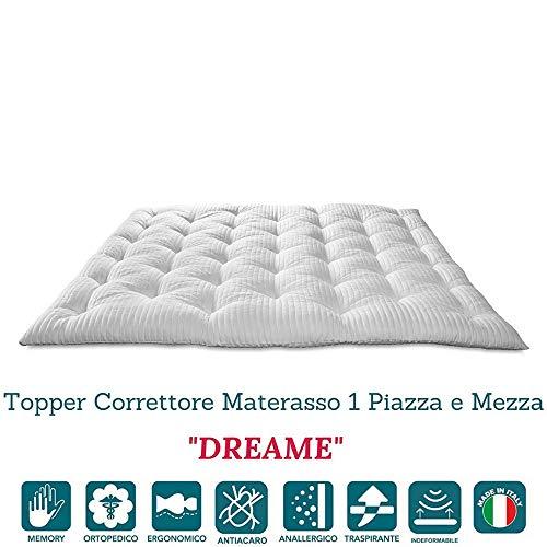 Evergreenweb - Correttore Materasso in Memory Foam MED una Piazza e Mezza 120x190 Alto 7 cm Topper...