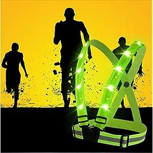 boyovo reflectante chaleco de alta visibilidad todas día y noche con etiqueta de identificación, de emergencia, 3modos USB luz LED de batería, totalmente ajustable y multiusos: Running, ciclismo, motocicleta seguridad, pasear al perro, color verde