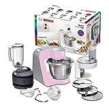 Bosch MUM58K20 CreationLine Küchenmaschine (1000 W, 3, 9 l, edelstahl-Rührschüssel, Durchlaufschnitzler, Mixer-Aufsatz), Silber-Rosa (pink)