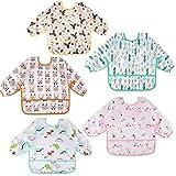 Lictin Baby Lätzchen mit Lange Ärmeln 5 Set Lätzchen Babylätzchen Wasserdicht Baby Bibs Set