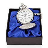 Personalised Engraved Pocket Watch with Roman Numbers and Spare Battery Gold or Silver, with Satin Box or Without, with Free Engraving (PW Roman Silver Boxed)