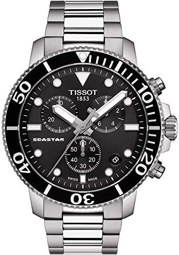 TISSOT Herren Chronograph Quarz Uhr mit Edelstahl Armband T1204171105100