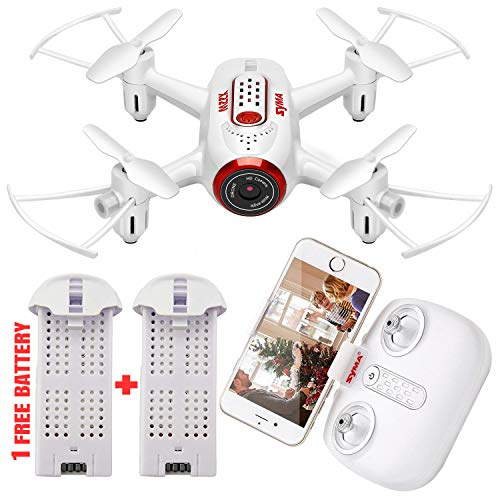Syma X22W Mini Drone with Camera Live Video FPV Nano Pocket Drone for Kids and Beginners, RC Quadcopter with App Control, Altitude Hold, 3D Flips, Headless Mode, 2 Battery (White)