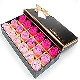 Itian 18pcs Rose Jabón Flor en Caja de Regalo, Fascinante Ramo de Rosas, Forma Bonita, Color del Gradiente (Rosa Roja)
